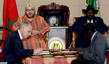 HM the King, South Sudanese Pres. Chair Signing Ceremony of Nine Bilateral Agreements
