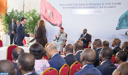 HM the King, Ivorian Pres. Chair Ceremony on Côte d'Ivoire-Morocco Economic Impetus Group's Work