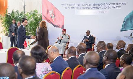 SM el Rey y el presidente marfileño presiden la ceremonia de presentación de los trabajos del Grupo de Impulso Económico Costa de Marfil-Marruecos