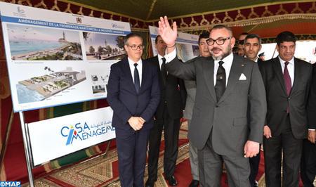 SM el Rey lanza las obras de acondicionamiento del paseo marítimo de la mezquita Hassan II de Casablanca