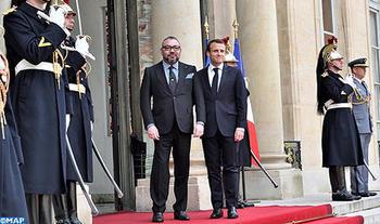 SM el Rey Mohammed VI recibido en el Elíseo por el Presidente de la República Francesa (Gabinete Real)