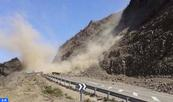 Interruption de la circulation sur la RN 16 entre Bouhmed et Amter (Rocade méditerranéenne) suite à un important éboulement rocheux (ministère de l'Equipement)