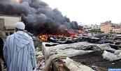 """Un incendie se déclare au souk populaire """"Bir Chifa"""" à Tanger sans faire de victimes"""