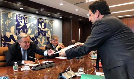 Question du Sahara : M. Bourita remet au Secrétaire Général de l'ONU un message écrit de Sa Majesté le Roi