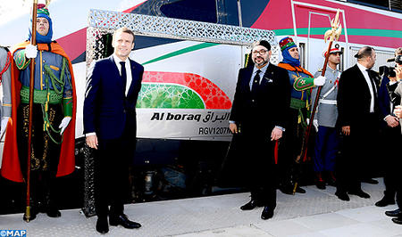 SM le Roi et le Président français inaugurent le Train à Grande Vitesse Al BORAQ reliant Tanger à Casablanca
