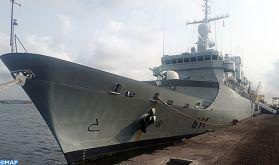 Participation de la frégate ''Mohammed V'' de la Marine Royale à des manœuvres aéronavales dans le golfe de Guinée