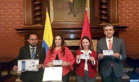 Émission à Bogotá de deux timbres postaux commémoratifs du 40è anniversaire de l'établissement des relations diplomatiques entre la Colombie et le Maroc
