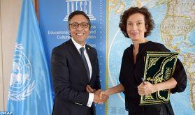 L'Ambassadeur-représentant permanent du Maroc auprès de l'Unesco remet ses lettres de créance à Mme Audrey Azoulay