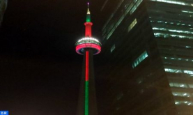 Throne Day: Niagara Falls, CN Tower in Colors of Moroccan Flag