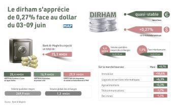 Marché des changes (3-9 juin): Le dirham s'apprécie de 0,27% face au dollar