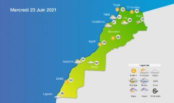Prévisions météorologiques pour le mercredi 23 juin 2021