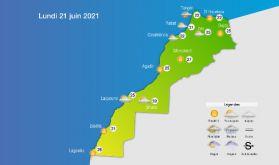 Prévisions météorologiques pour le lundi 21 juin 2021