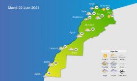 Prévisions météorologiques pour le mardi 22 juin 2021