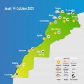 Prévisions météorologiques du jeudi 14 octobre 2021