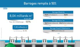 Maroc: Les barrages remplis à 50% (ministère)